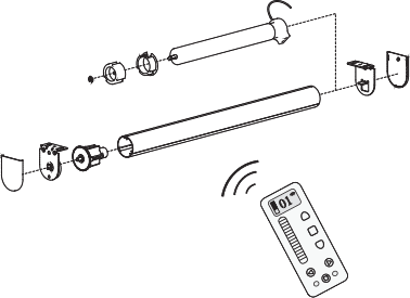 Rechargeable Battery Roller Blind Technical Drawing